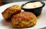 Shrimp Cakes with Spinach Slaw and Coconut Almond Dressing